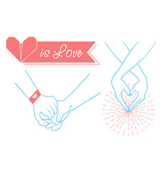 Hands of people in love on valentines day vector