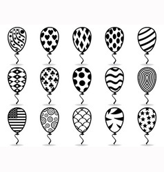 Black pattern balloon icons vector