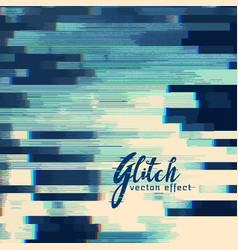 Glitch abstract background in blue shade vector