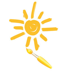 Drawing sun brush images icon smiley vector