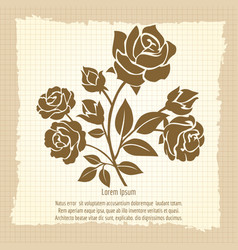 Vintage poster with bush of roses vector