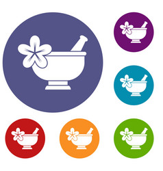 Mortar and pestle pharmacy icons set vector