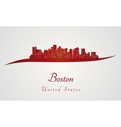 Boston skyline in red vector