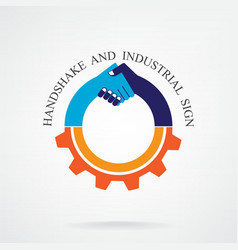 Creative handshake sign and industrial idea vector