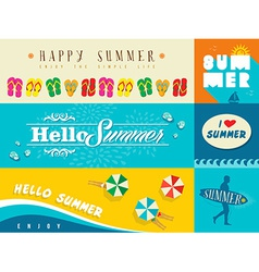 Summer flat banner set vector