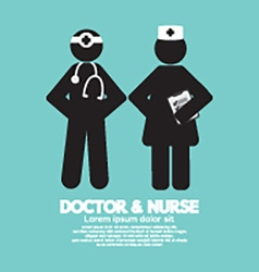 Black symbol doctor and nurse vector