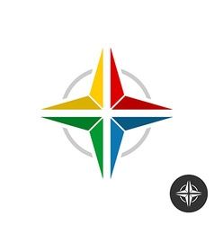 Geometric colorful star logo rainbow flat colors vector