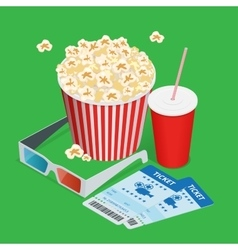 Set popcorn drink 3d glasses realistic vector