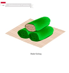Dadar gulung or indonesian sweet coconut pancake vector