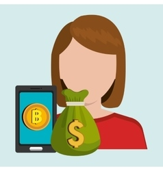 Person with smartphone and coin isolated icon vector