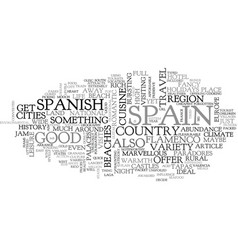 A quick tour of spain text word cloud concept vector
