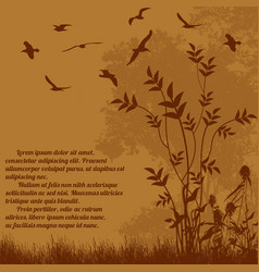 Beautiful nature landscape with flying birds vector