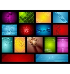 Bright hi-tech backgrounds collection vector image vector image