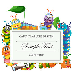 Card template with caterpillars around border vector