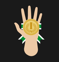 Champion medal award in hand flat icon vector