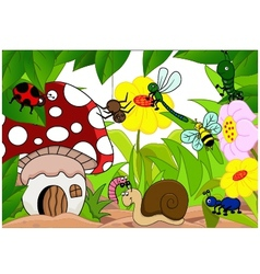 collection of cartoon insects in the garden vector image