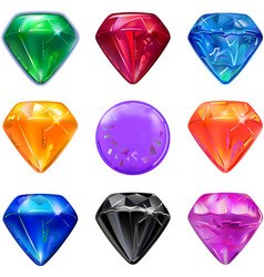 Colored gems game interface set vector