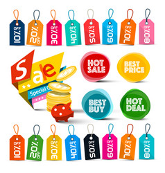 Discount labels set colorful tags vector