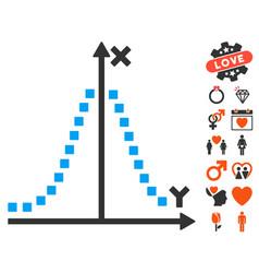 Gauss plot icon with dating bonus vector