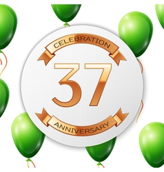 Golden number thirty seven years anniversary vector