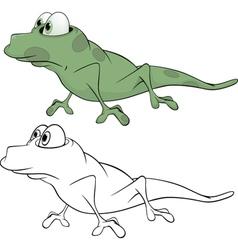 Green little lizard cartoon vector