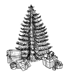 Hand drawn sketch christmas tree and gifts vector