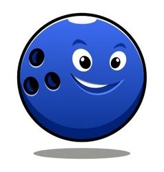 Happy colourful blue cartoon bowling ball vector image vector image