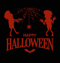 happy halloween silhouettes on vector image