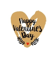 Happy valentines day on golden heart vector
