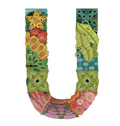 Letter u zentangle decorative object vector