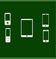 mobile phones white on a green background vector image