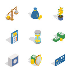 Money and finance icons isometric 3d style vector
