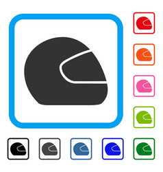 motorcycle helmet framed icon vector image vector image