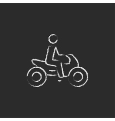 Rider on a motorcycle icon drawn in chalk vector