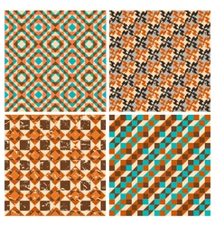 set of seamless geometric retro patterns vector image vector image
