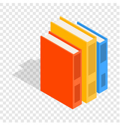 Vertical stack of colorful books isometric icon vector