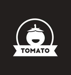 White icon on black background tomato vector