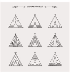 Wigwams with ornamental elements vector image vector image
