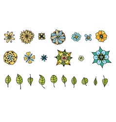 Various flowers leaves vector