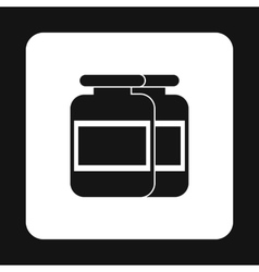Sport nutrition containers icon simple style vector