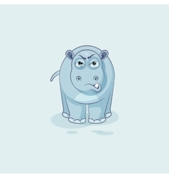 Hippopotamus sticker emoticon with angry emotion vector