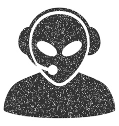 Alien call center grainy texture icon vector