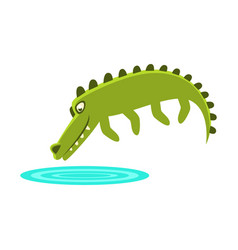 Crocodile jumping in small pond of water cartoon vector