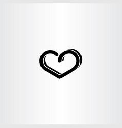 Black heart design element sign vector