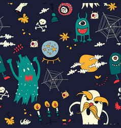halloween hand drawn seamless retro pattern vector image