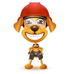 Labor day yellow dog builder in protective helmet vector