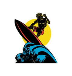 Surfer wave retro vector
