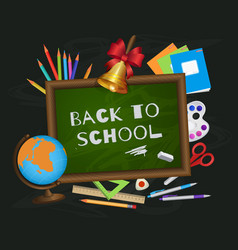 back to school banner poster greeting card design vector image