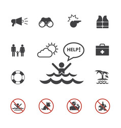 Lifeguard and beach warning icon set vector