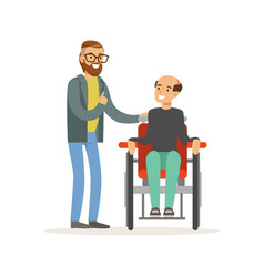 Meeting of friends two men talking one disabled vector